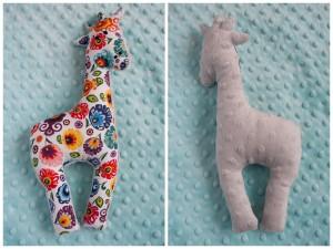 Dwustronna żyrafa łowicz + szare minky
