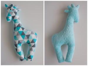 Dwustronna żyrafa turkusowo- szare trójkąty + minky mięta