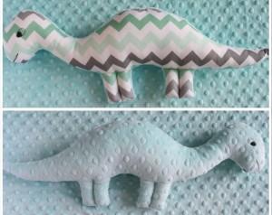 Dinozaur dwustronny miętowy zygzak+miętowe minky