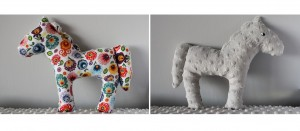Dwustronny koń - łowicz +  szare minky