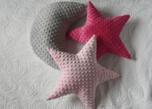 Gwiazdy dwustronne: jasny róż i minky Azalea Pink i szary księżyc