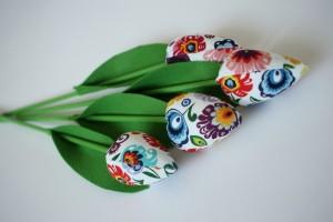 Tulipany łowicz, liście z filcu